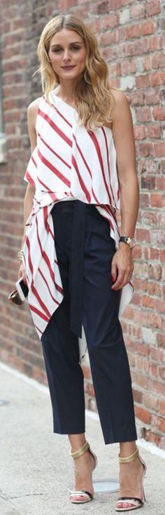 Olivia Palermo: Buy Shirt – Banana Republic  Buy Pants – Banana Republic  Shoes – Boutique 9