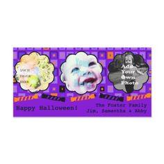 Purple Halloween Squares & Festive Candy Border - Custom Photo Card by floppypoppygifts