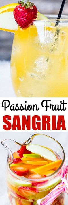 This Passion Fruit and Pineapple Sangria is made with white wine, a variety of fruit juices, and plenty of fruit! Perfect for parties, showers, and brunch!