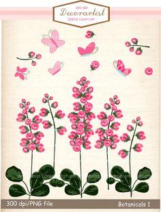 Flower clip art,pink flowers, botanical flowers,butterfly clip art, flowers, card making, border , INSTANT DOWNLOAD