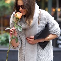 Never too busy to stop + smell the roses with the fabulous @monicabeatrice. #EFintheUK • Wool Striped Scarf • Alpaca Box-Top