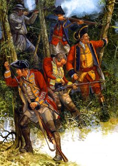 General Wolfe's British Army engaging the French in the frontiers, Seven Years War
