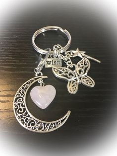 Rose Quartz Heart Crystal, Pretty Wings, Angels Watching Over Me Charm Keyring/ Keychain with FREE Bag & Angel Message Card. Love Crystal. by WingsAndThingsbyAlex on Etsy