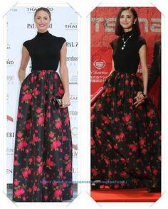 Un vestido de Michael Kors Pre-Fall 2013 lo llevo primero Stacy Keibler a un evento en Mónaco; después lo llevo Zhang Xinyi al Festival de Shanghai.