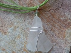 Wire Wrapped Sea Beach Glass Pendant by UniqueChiqueJewelry Glass Necklace, Sea Glass Jewelry, Pendant Necklace, White Sea, Organza Ribbon, Beach Jewelry, Antique Copper, Small Businesses, Wire Wrapping
