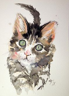 Little Cat Painting by Kovacs Anna Brigitta