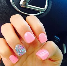 Accent nails are a really good way to enliven your routine manicure. Accent nails are astoundingly popular because they can really make your nails pop. Fancy Nails, Love Nails, Trendy Nails, My Nails, Pretty Gel Nails, Pretty Short Nails, Prom Nails, Gorgeous Nails, Wedding Nails