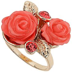 Rose cluster ring ($14) ❤ liked on Polyvore