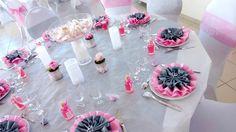 déco de table gris perle et rose