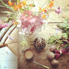 Pink Hollyhocks, Hydrangeas and Home Grown Beetroot. Photo from 5ftinf.