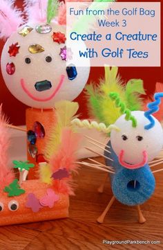 Create a Creature with Golf Tees - our Fun from the Golf Bag series continues this week as the girls created their own creatures using golf tees, pool noodles and more!