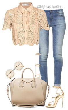 """""""Casual in Lace"""" by highfashionfiles featuring Zara, self-portrait, Givenchy, and River Island Classy Outfits, Chic Outfits, Fashion Outfits, Womens Fashion, Fashion Trends, Dress Fashion, 50s Outfits, Moda Casual, Casual Chic"""