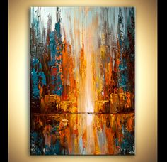 Modern palette knife abstract city painting  City by OsnatFineArt, $1400.00 …
