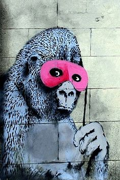 Gorilla Mask Pink Ape Monkey by Banksy Canvas Print by Banksy Street Art on Banksy Graffiti, Street Art Banksy, Banksy Artwork, Yarn Bombing, Gorilla Art, Banksy Canvas Prints, Art Du Monde, Urbane Kunst, Graffiti Drawing