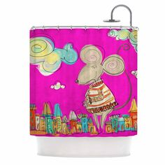 "Carina Povarchik ""Urban Mouse - Magenta"" Pink Yellow Shower Curtain"
