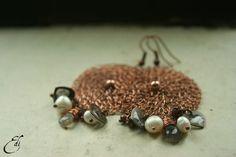 Labradorita perla granate pendientes de cobre. por editos en Etsy