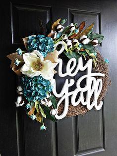 Hey Ya'll Wreath, Southern Wreath, Cotton Wreath, Magnolia Wreath, Spring Wreath, Summer Wreath, Cotton Boll, Burlap Wreath, Aqua Wreath