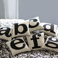 Alphabet needle point pillows from pottery barn teen