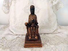 Antique religious statue Madonna of Montserrat with infant child Jesus, our lady Maria of Montserrat Madonne statue sculpture devotional art