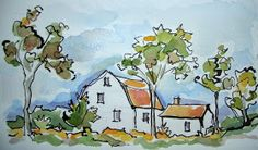 More autumn country drives. ..More 4 X 6's for sale...   I was so eager to photo this little drawing that one of the clouds is still wet...