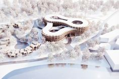 GRAFT + penda to Break Ground on Myrtle Garden Hotel. GRAFT Architects and penda …are preparing to break ground on Myrtle Garden Hotel in the outskirts of Xiangyang, China. Myrtle Tree, Futuristic Architecture, Architecture Design, Stadium Architecture, Retail Architecture, Architecture Graphics, Concept Architecture, Contemporary Architecture