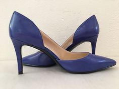 Nine West Womens 6.5M Cobalt Blue Leather Pointy Toe Slim Heel Work Dress Pumps. #NineWest #PumpsClassics #WorkFormalChurch