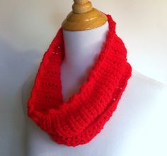 handknit lace cowl in neon pink red - handknit lightweight brightly colored feminine neckwarmer scarf - available for $22.50 at kateydid handmade