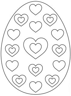 Easter Egg With Hearts Coloring Page From Eggs Category Select 25887 Printable Crafts
