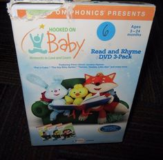 PHONICS: HOOKED ON BABY - READ & RHYME 3-DISC DVD SET, AGES 3-24 MONTHS, GUC