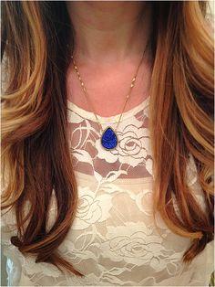 Navy  Sparkle Necklace by elladolce on Etsy,