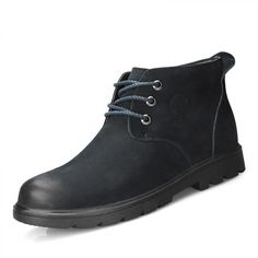 Dark blue Suede leather casual cotton boots add height 7cm / 2.75inch lace up taller boots