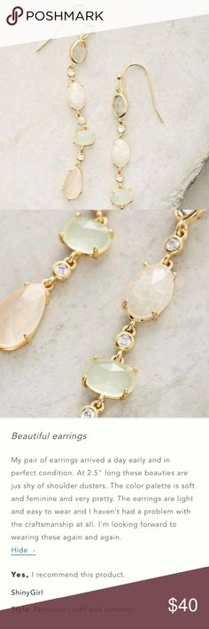 """{Anthropologie} Precip Drop Earrings NWT. Stunning """"Precip Drop"""" earrings from Anthropologie in shades of mint green & cream. Brass, glass, & opal. 2.5"""" long. So very pretty. Sold out. { Fast Shipping / 10% Off Bundles / Reasonable Offers Welcome } Anthropologie Jewelry Earrings"""