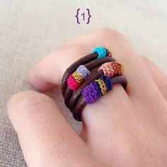Leather and crochet rings by kjoo on Etsy