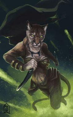 f Tabaxi Rogue Thief Leather Armor Dagger battle puma by Brevis--art DeviantArt lg Character Concept, Character Art, Character Design, Dnd Characters, Fantasy Characters, Fantasy Races, Fantasy Art, Jaguar, Drawn Art