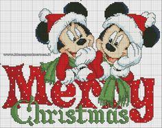 Mickey and Minnie Merry Christmas Cross Stitch Disney Cross Stitch Patterns, Counted Cross Stitch Patterns, Cross Stitch Charts, Cross Stitch Designs, Cross Stitch Embroidery, Embroidery Patterns, Hand Embroidery, Disney Stitch, Xmas Cross Stitch