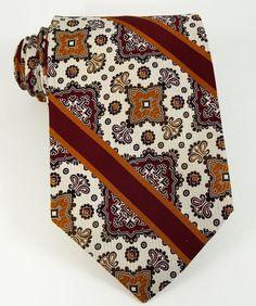 b3ab9aabb9b2 Details about Vintage Wide 1970s Tie Woven Maroon Gold Stripe Necktie