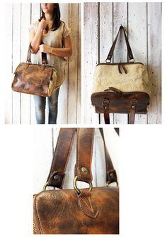 "Handmade Italian  Brown Leather& canvas Bag ""ZIPPER 7"" di LaSellerieLimited su Etsy"