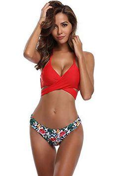 1a65453f2f SHEKINI Femme Deux pièces Halter Bandage Push Up Brésilien Bikini Floral  Print Maillots de Bain Femme 2 pièces Triangle Swimwear Plage