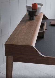 The Yves desk has an inlaid Aubergine leather writing surface, two drawers and a cable access hole on the left hand side.
