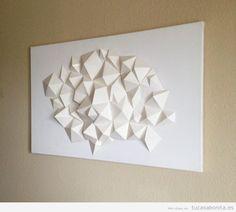 Escultura papel DIY decorar pared salón de casa