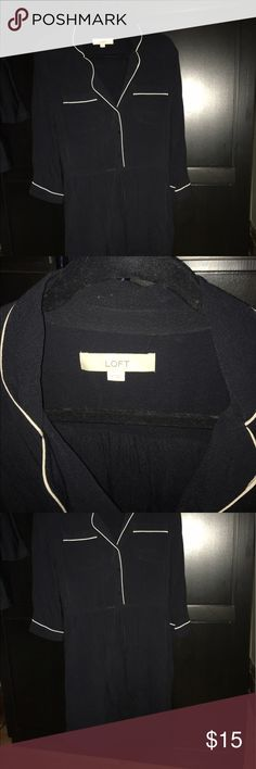 Loft Dress Loft Black with Ivory Piping Long Sleeve Dress Size Medium LOFT Dresses Long Sleeve
