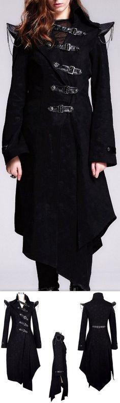 Black Buckle-Embellished Asymmetric Goth Coat