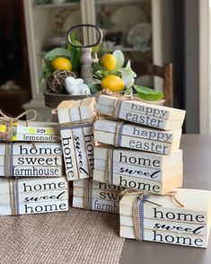 Home Sweet Home / Farmhouse Books / Stamped Books / Book Stack / Farmhouse Book Stack / Books / Book Farmhouse Books, Farmhouse Chairs, Farmhouse Decor, Modern Farmhouse, Farmhouse Style, Wooden Books, Painted Books, Sweet Home, Stack Of Books