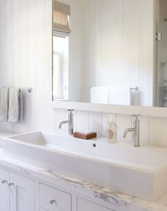 White bathroom with trough sink for two - traditional - bathroom - san francisco - by Rasmussen Construction