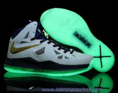Nike Lebron X 10 Blanc Navy Bleu Or Glow in the Dark Sole En Ligne Sole b19f70a96cd8