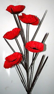 "5 head - red artificial #poppy #flower stem  arrangement 34"" tall - #filler displ,  View more on the LINK: 	http://www.zeppy.io/product/gb/2/191564381346/"