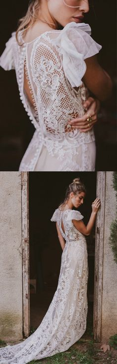 boho style crochet lace wedding dress