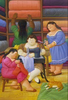 Fernando Botero   FAMILY ON A BEACH   75 x 100 cm STAMPA SU TELA  CANVAS QUADRI