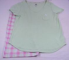 Karen Neuburger Womens Small Pajama Short Set NWT Green Pink White Cotton Blend #KarenNeuburger #PajamaSets