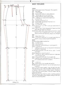 how to draft pants pattern- Joy! Previous pinner: I've been looking for something like this, I lost mine from the stanley school of dressmaking circa 1982 byeasy fitting pant drafting g pant draftEl alfabeto de la costura de alejandro timofeeva la co Pattern Drafting Tutorials, Mens Sewing Patterns, Clothing Patterns, Shirt Patterns, Dress Patterns, Tutorial Sewing, Bodice Pattern, Jacket Pattern, Jumpsuit Pattern